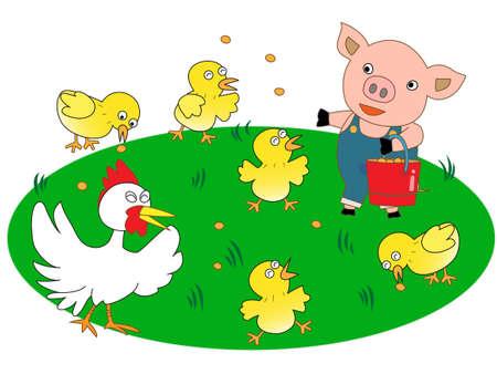 fattening: Little pigs dairy work