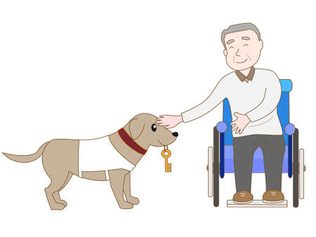 dog wheelchair: Wolf dogs for special services Illustration