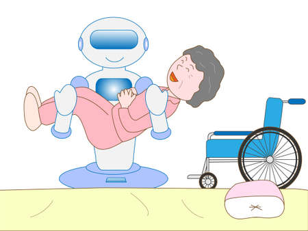 nursing care are for seniors: Robots to care Illustration