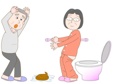 bowel disorder: Demented wife that took care of my husband. Illustration