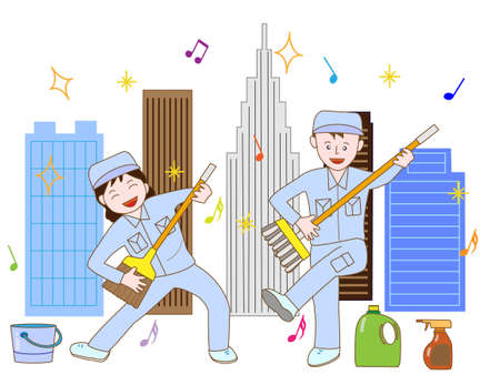 Clean-up workers exercise Illustration