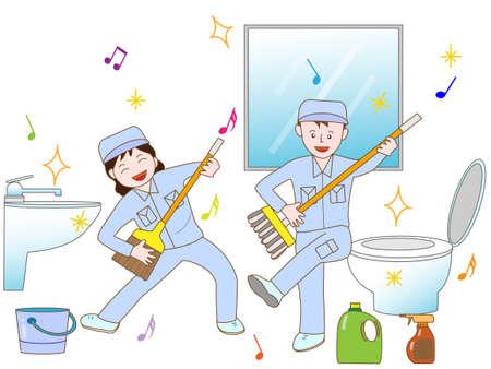 ejercicio de los trabajadores de limpieza Ilustración de vector