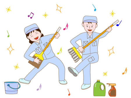 janitorial: Clean-up workers exercise Illustration