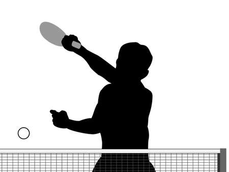 backhand: Silhouette of table tennis