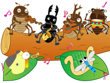nursery tale: Concert of insects Illustration