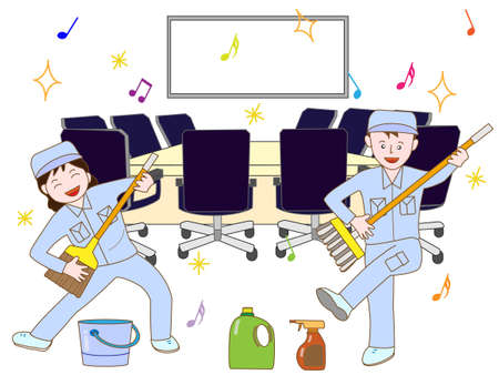 Workers are cleaning the room workout Illustration