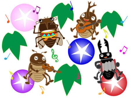 Insecten van de zomer concert Stock Illustratie