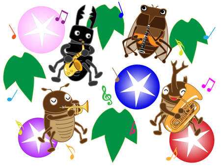 brass band: Insects of summer concert Illustration