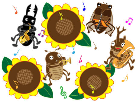 stag beetle: Insects of summer concert Illustration