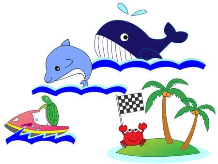 uninhabited: Animals in the ocean swimming Illustration