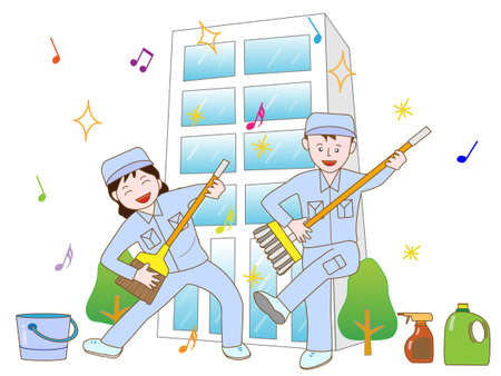 janitorial: Building cleaning workers exercise Illustration