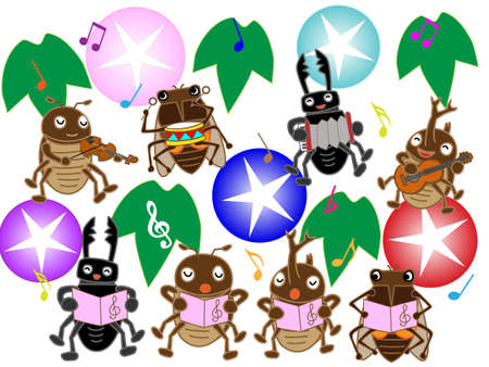 nursery tale: Insects of summer concert Illustration