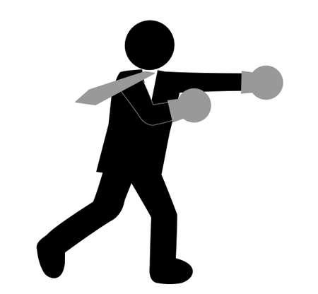 crisis management: Corporate boxing Illustration
