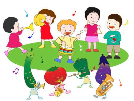 castanets: Vegetables and childrens concert Illustration