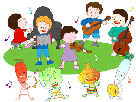 nursery tale: Vegetables and childrens Music Festival
