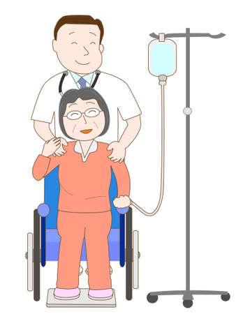intravenous drip: Elderly hospitalized patients