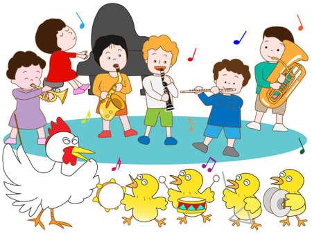 pollitos: Polluelos y concierto para niños