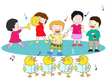 castanets: Chicks and childrens concert Illustration