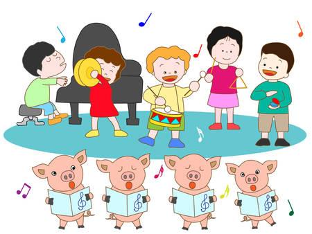 castanets: Suckling pig and kids concerts Illustration