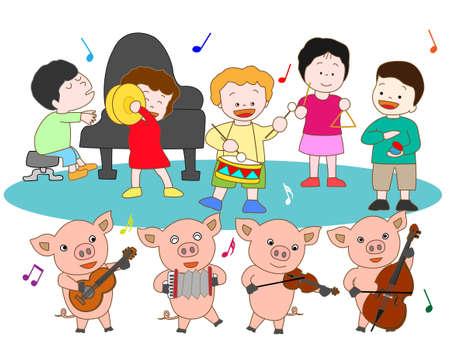 哺乳豚と子供たちのコンサート 写真素材 - 59989808