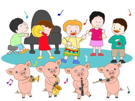 suckling: Suckling pig and kids concerts Illustration