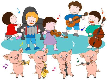 哺乳豚と子供たちのコンサート