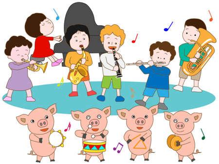 哺乳豚と子供たちのコンサート 写真素材 - 59989817