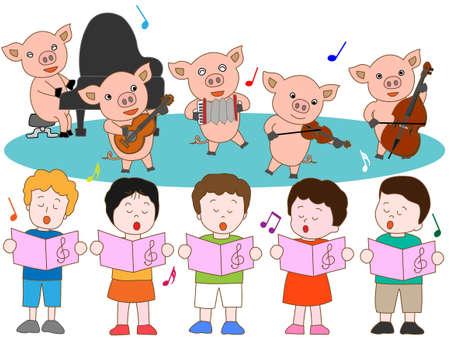 fairyland: Suckling pig and kids concerts Illustration