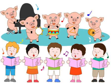 spanferkel: Spanferkel und Kinder Konzerte Illustration