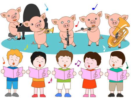 Suckling pig and kids concerts Illustration