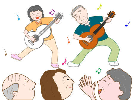 duet: Senior to play guitar Illustration