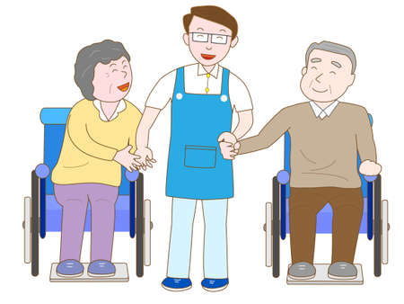 nursing care are for seniors: Caregiver jobs Illustration