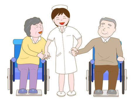 pflegeversicherung: Krankenschwestern haben im Chat Spaß mit den alten Menschen im Rollstuhl