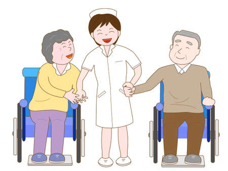 sanatorium: Nurses have fun chatting with the elderly in wheelchairs