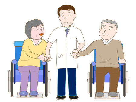 nurse home: Doctor fun chatting with the elderly in wheelchairs