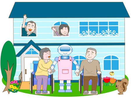 Robot in verpleeghuizen Stock Illustratie