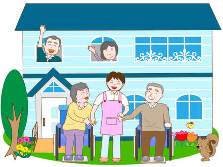 pflegeversicherung: In einer Langzeitpflegeeinrichtung für ältere Menschen Illustration
