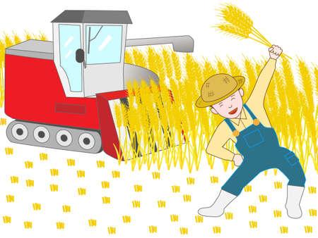 rice field: The joy of harvest wheat