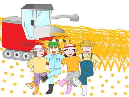 rejoice: Rejoice in the harvesting of the rice farmers Illustration