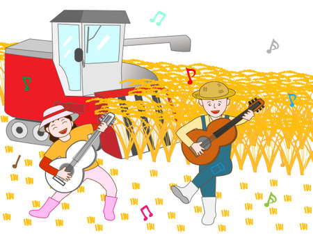 duet: Singing joy to the harvest of rice farmers Illustration