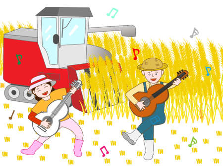rice field: Singing joy to the harvesting of the wheat farmers
