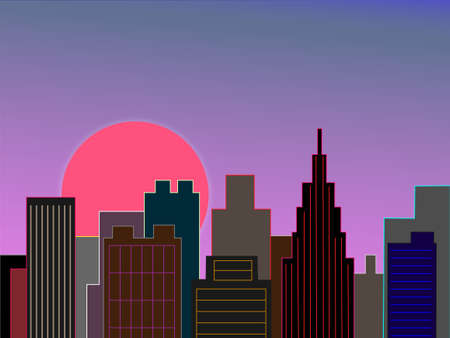 early in the evening: Downtown at dawn Illustration