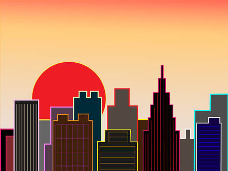 business district: Downtown sunset Illustration