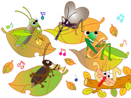 mantis: Concert of insects Illustration