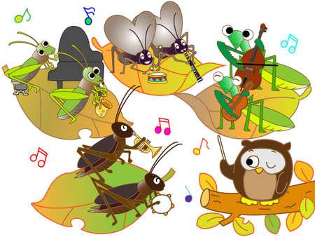 escuela infantil: Concierto de insectos Vectores