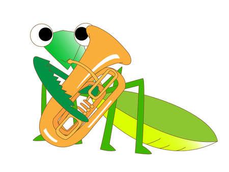 Tuba playing Mantis Illustration