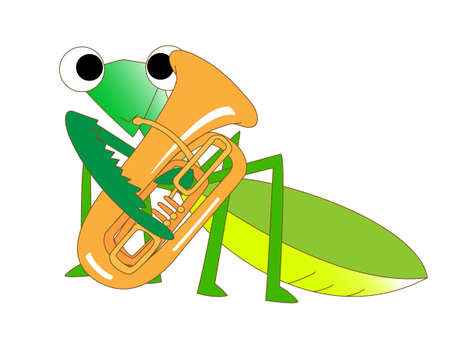 Tuba playing Mantis Illustration