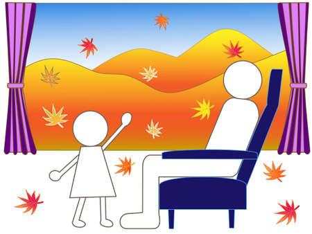 reclining: Autumn train journey