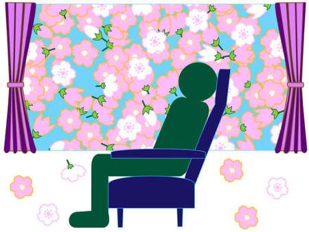 reclining: Spring rail journey