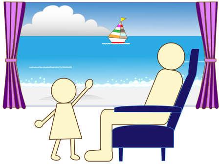 long weekend: Summer train journey Illustration